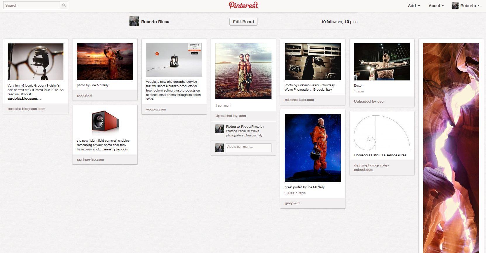 Pinterest per fotografi e l'approccio visivo dei social media