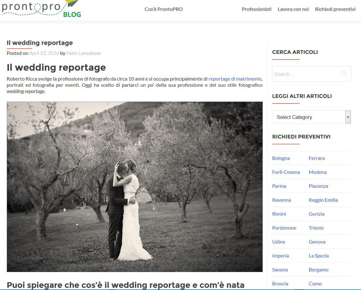 Intervista Fotografo di Matrimonio su Prontopro